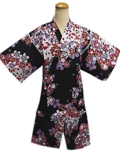女性用レディース甚平じんべい黒色地赤紫桜フリー