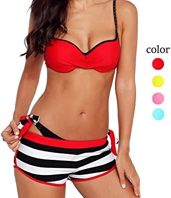 49c1f9c1b5 3 Piece Womens Bikini Swimsuits with Shorts Sexy Padded Push Up Halter  Swimwear Beach Bathing Suit
