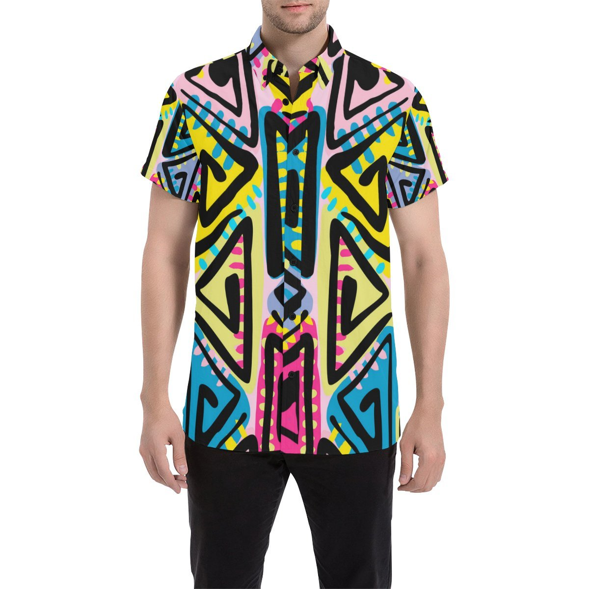 InterestPrint Boho Tribal Button Front Regular Fit Shirt for Men