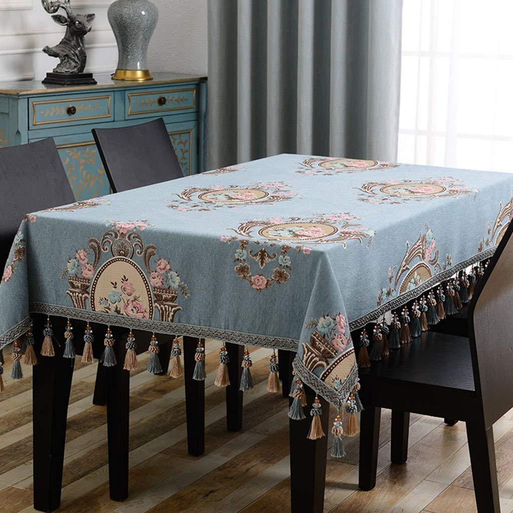 JJD キッチンリネンのテーブルクロスヨーロッパのレトロジャカード長方形の青サイズ: (サイズ : 130*180cm) 130*180cm  B07SNCL5D3