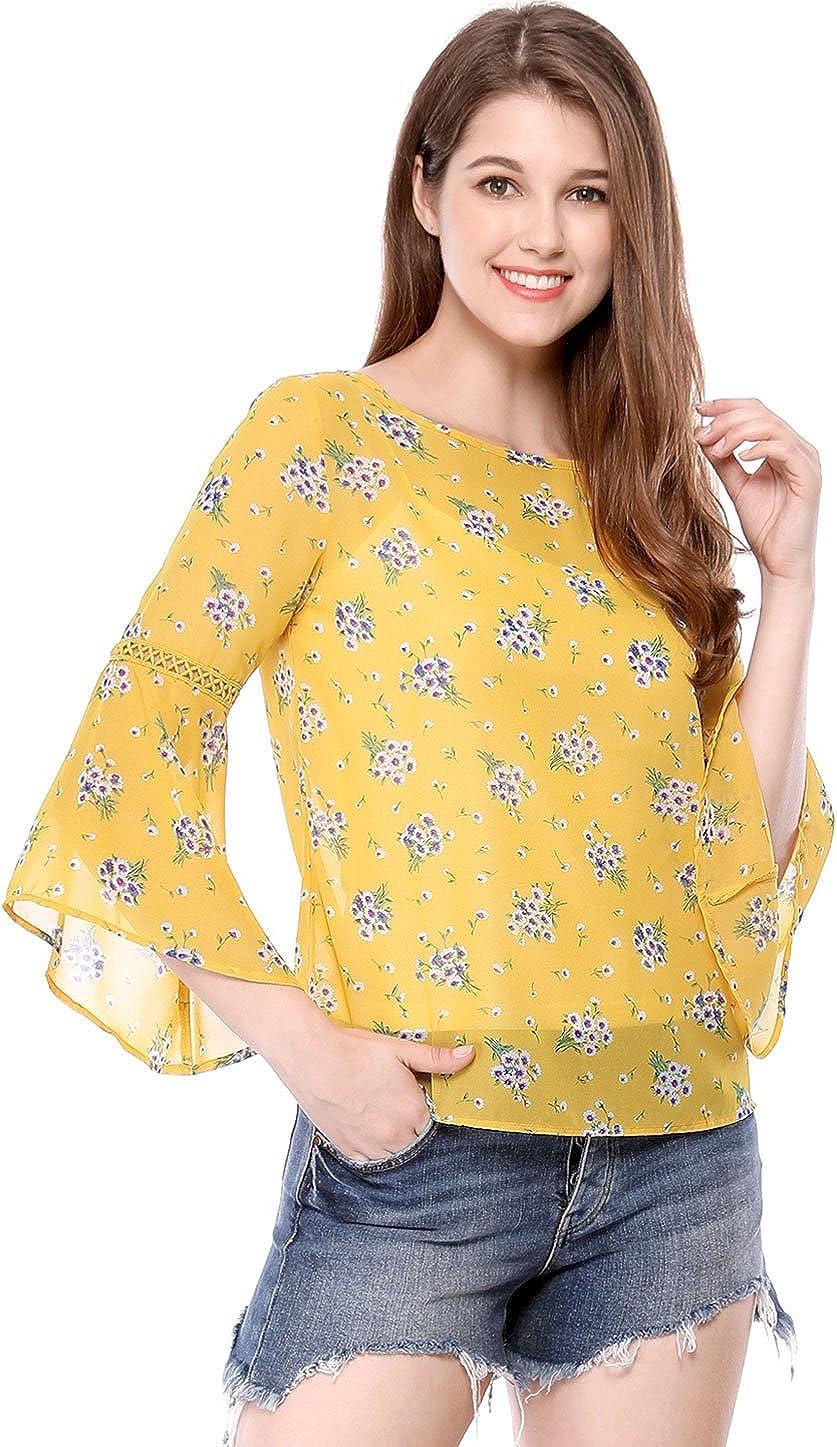 Allegra K Women's Floral Print 3/4 Bell Sleeve Spring Chiffon Blouse W Cami