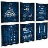 Billiard Decor Set of 6 Unframed Patent Blueprints of Billiards Pool Table Balls Cue
