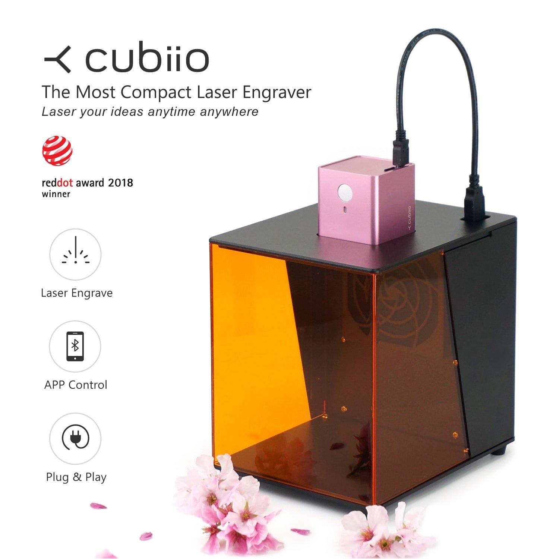 Cubiio|携帯型レーザー彫刻機 (桜色) 個人的な刻印実現 クーキー形彫刻、コーヒーラテアートでも使い! B07BTHL7MH 桜色 桜色