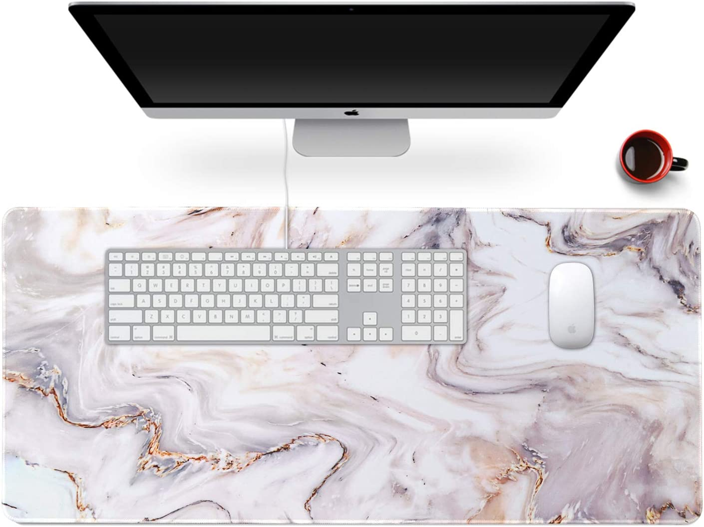 "Anyshock Desk Mat, Extended Gaming Mouse Pad 35.4"" x 15.7"" XXL Keyboard Laptop Mousepad with Stitched Edges Non Slip Base, Water-Resistant Computer Desk Pad for Office and Home (Platinum Marble)"