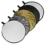 "Phot-R 80cm (32"") Pro 5-in-1 5in1 Collapsible Professional Photography Portable Photo Studio Circular Light Reflector Panels - Gold, Silver, Black, White & Translucent Diffuser + Carry Case"