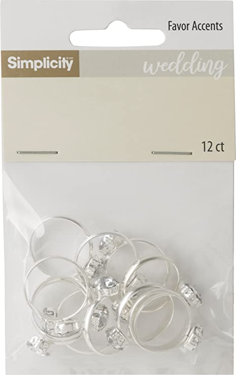 Simplicity Silver Bridal Shower Diamond Ring Party Favors And Decorations 12pc