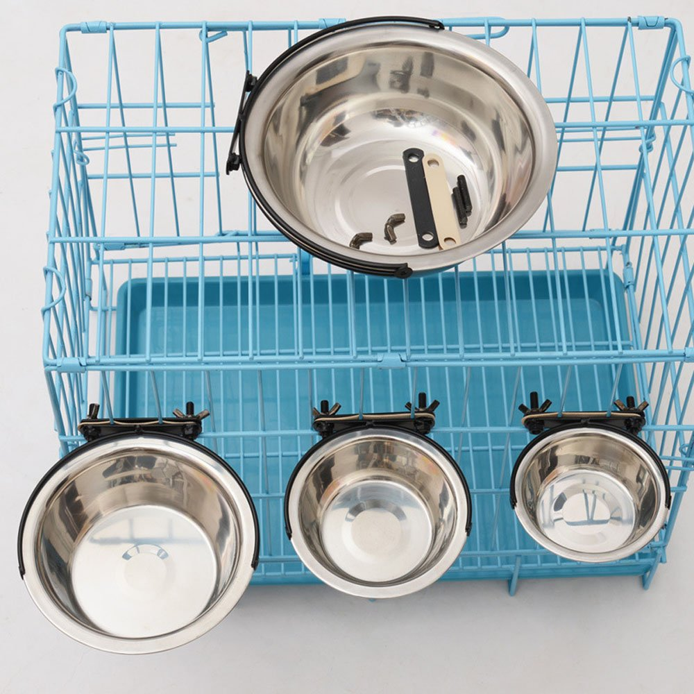 Efanr Pet Stainless Steel Bowl Hanging Fixed Anti-skid Inside and Outside Cage Feeding Drinking Water Food Bowls Dog Cat Puppy Kitty Bowls Water Basin Pet Rice Bowls Plate dog cage