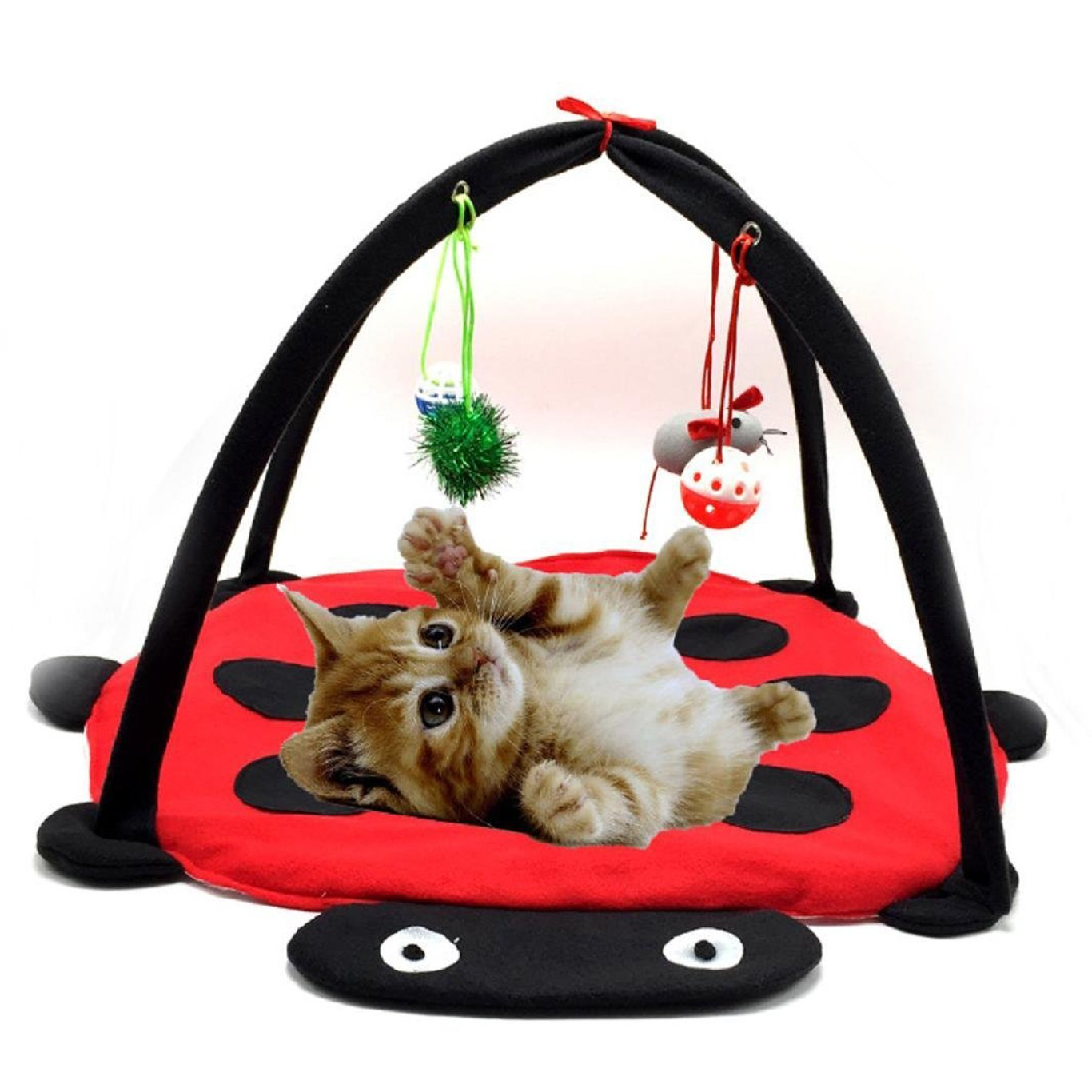 Mufeng Pet Playing Bed Blanket Mat with Hanging Toys - Balls Funny Cat Toy