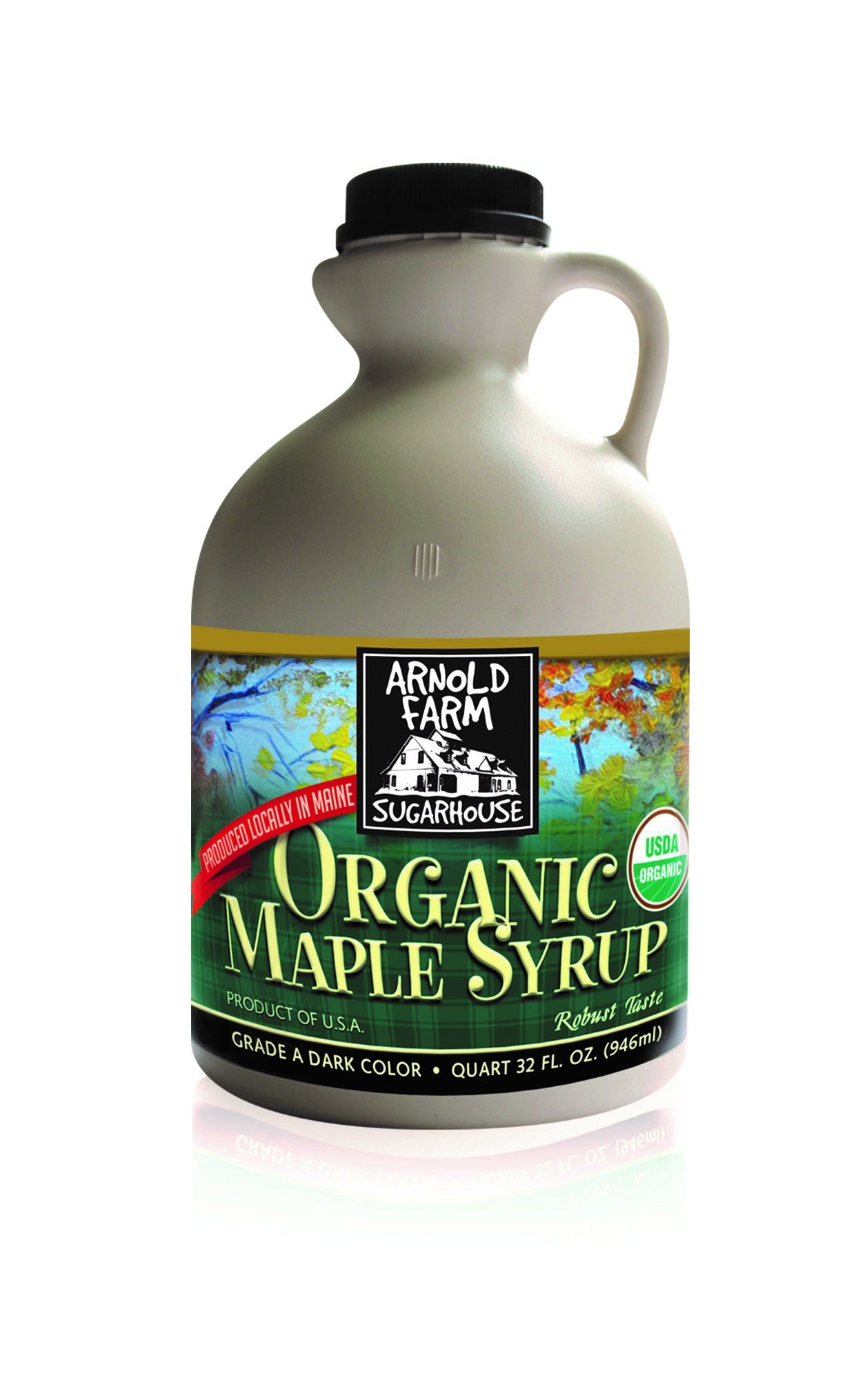 Arnold Farm Sugarhouse Plastic Quart Organic Maine Maple Syrup, 32 Ounce (Pack of 6)