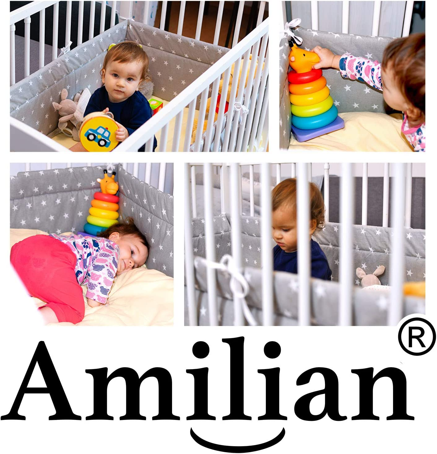 Amilian/® Baby Cot Bumper Wrap Around Protection For Babys Bed With Head Guard Polka-Dots Print White Available In 3 Sizes