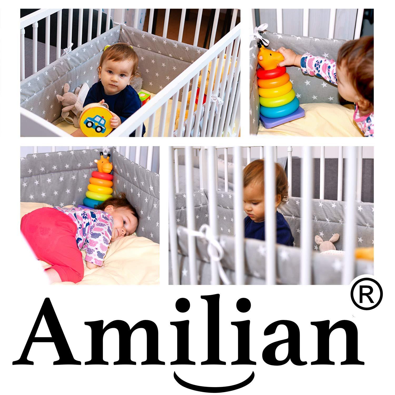 180x30cm 180x30 cm Bettnestchen Baby Kantenschutz Bettausstattung Eule wei/ß Amilian/® Bettumrandung Nest Kopfschutz Nestchen 420x30cm 360x30cm