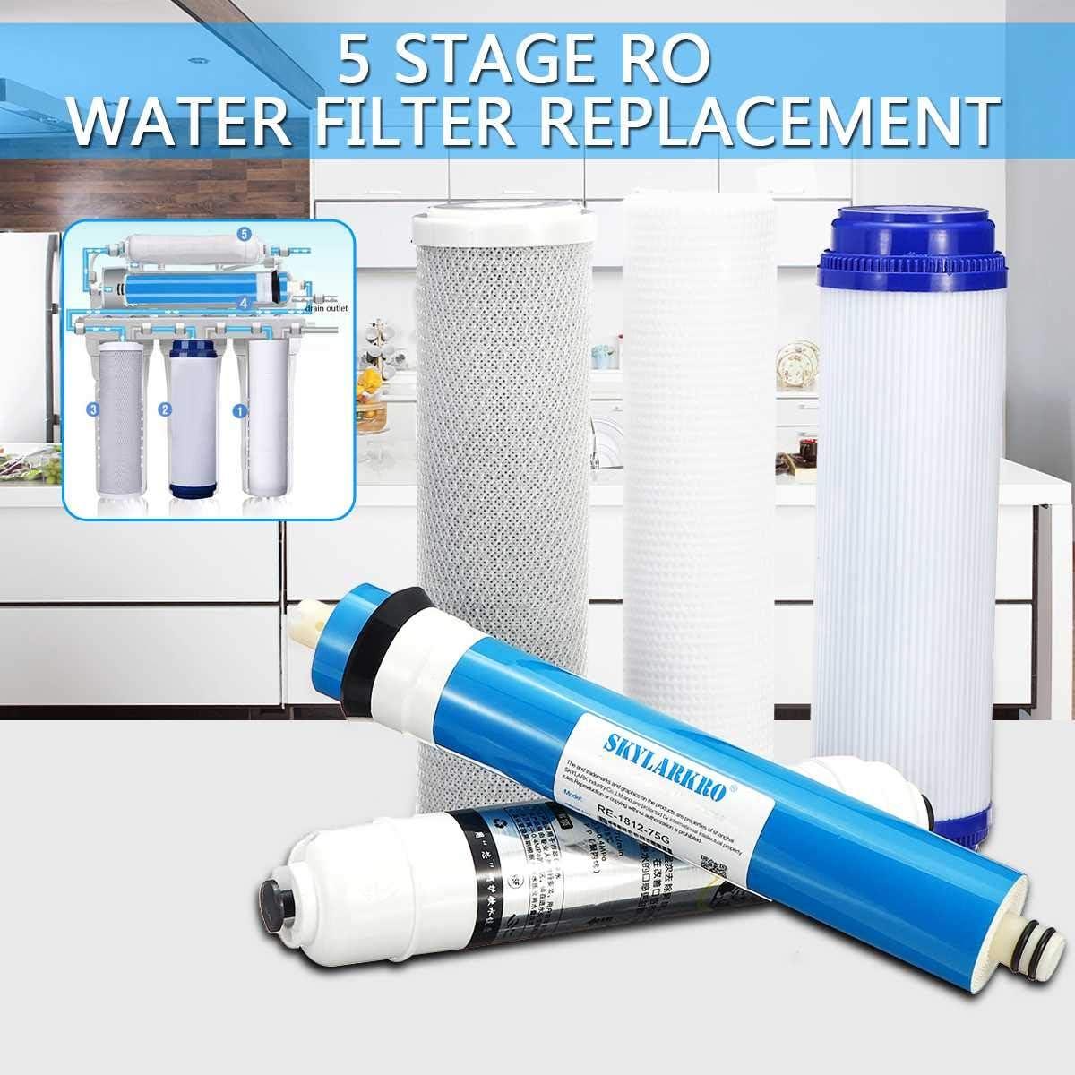 Kit de filtro de agua de reemplazo de ósmosis inversa de 5 etapas con 75 GPD Membrana Cartucho de filtro de agua ...