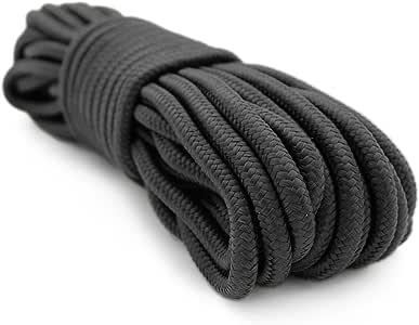 Emergency Zone 9mm Nylon Braided, 50 Foot, Multi-Purpose Camping Rope | Black (1 Pack)