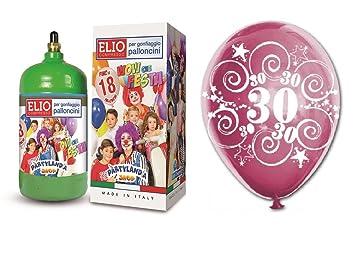 Bombona helio Gas 1,2 + 12 globos volando 30 ° Cumpleaños ...