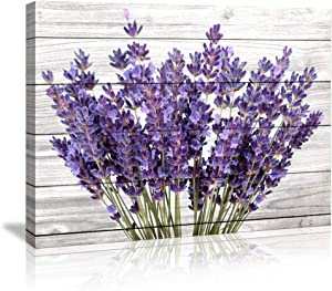 Canvas Prints Rustic Home Decor Canvas Wall Art - Purple Lavender Flowers Wall Decor on Vintage Wood Background Modern Living Room/Bedroom Bathroom Decor Stretched and Ready to Hang Size :20x28inch