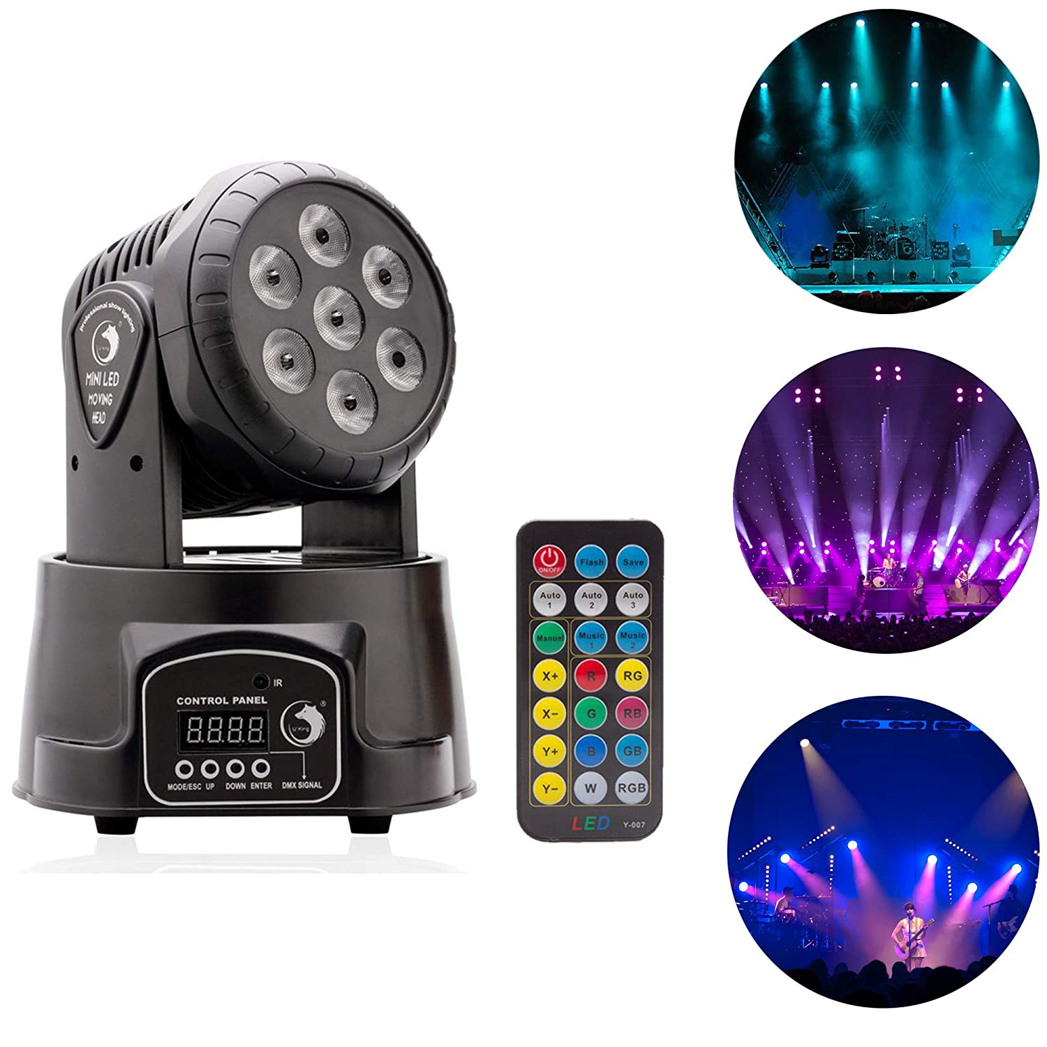 Top-Uking Moving Head Light DMX512 RGBW 7LED 70W Stage light with Remote, 4 Color with 5 Control Mode for DJ Disco Party Ballroom Christmas Halloween(7 LED)
