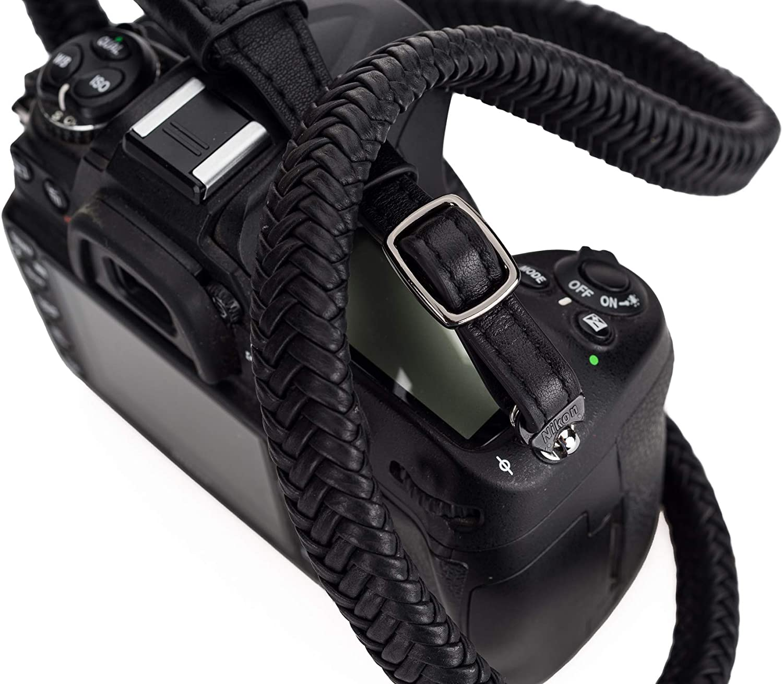 Black Braided Leather Camera Strap for Slotted Strap Mounts Adjustable The Vi Vante Matador Noir SL R