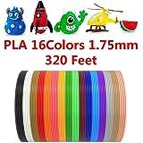 DGQ PLA 3D Printer Filament Refills - 16 Colors 20 Feet Each - 3D Printing Pen Filament 1.75mm