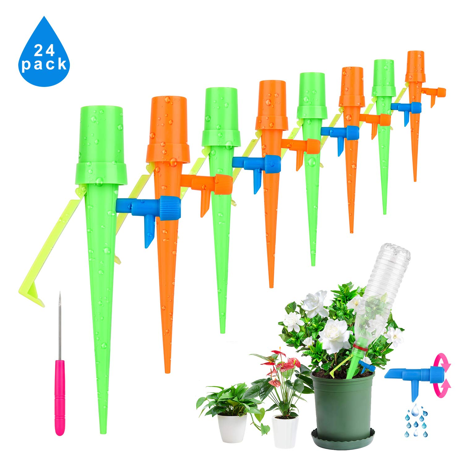 Plant Watering Spikes 24-Pack Upgraded Self Watering Devices with Control Valve Switch, Automatic Plant Waterer Vacation Drip Irrigation Water Stakes for Indoor & Outdoor, Fit for All Most Bottles