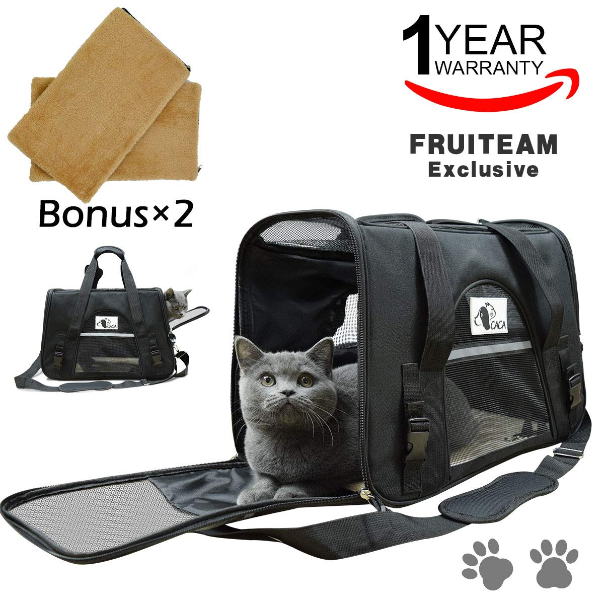 FRUITEAM Cat Carriers Pet Carrier Airline Approved, Small Dog Carrier Soft Sided, Collapsible Portable Travel Dog Carrier for Small and Medium Cats Dogs Puppies (Up to 18lbs)