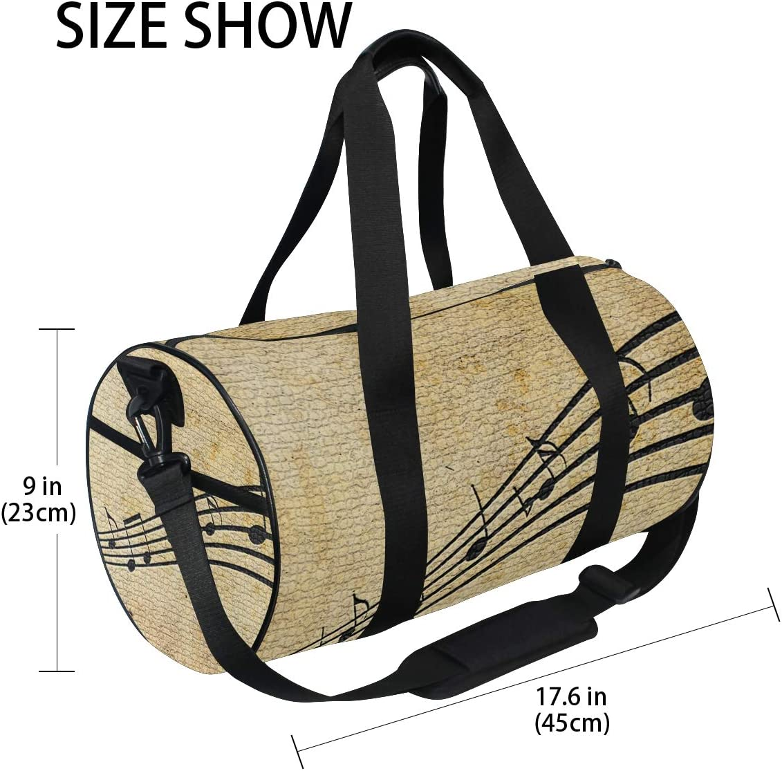 Duffel Bag Musical Notes Women Garment Gym Tote Bag Best Sports Bag for Boys