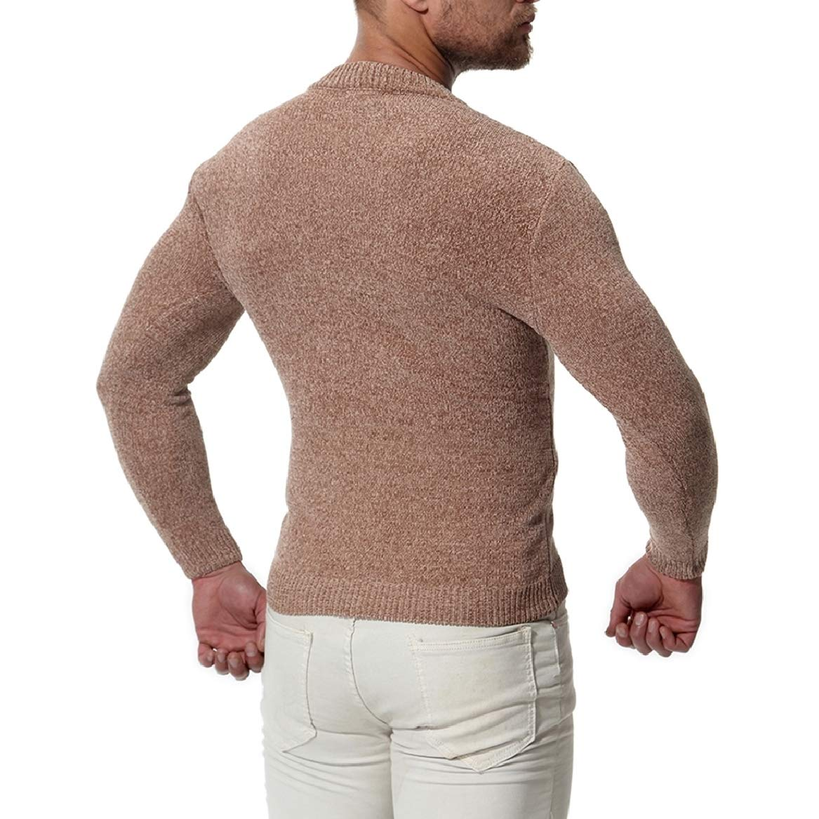 SayahMen Pullover Oversize Scoop Neck Knitted Pullover Sweater
