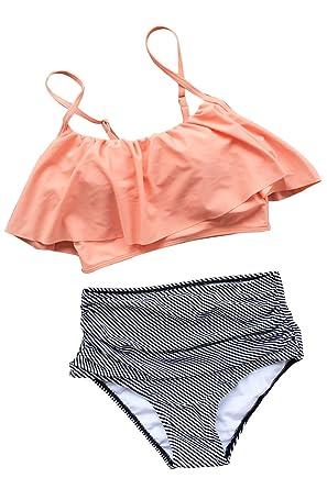 Cupshe Fashion Women Falbala High-waisted Bikini Set (M), Pink Orange