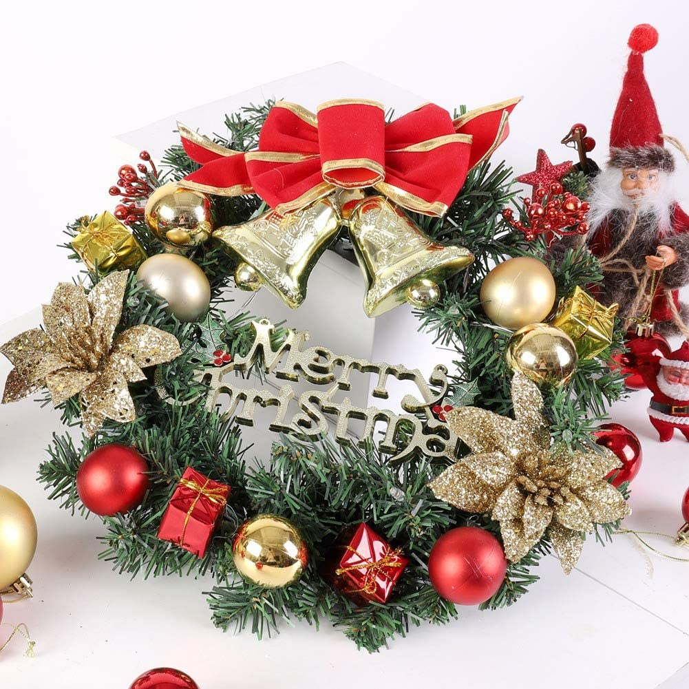 Outside Inside Decoration Front Door Hanging Garland,Artificial Wreath Valcatch Christmas Wreath with LED Light