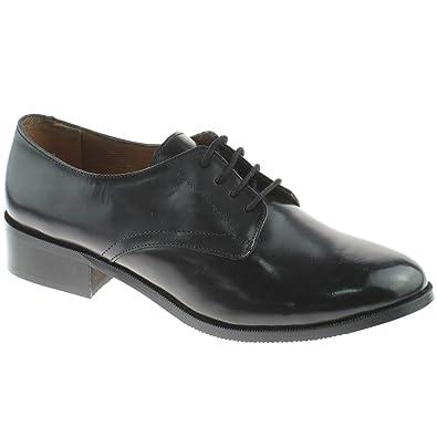 Grafters - Zapatos de cordones para mujer, color negro, talla 40.5