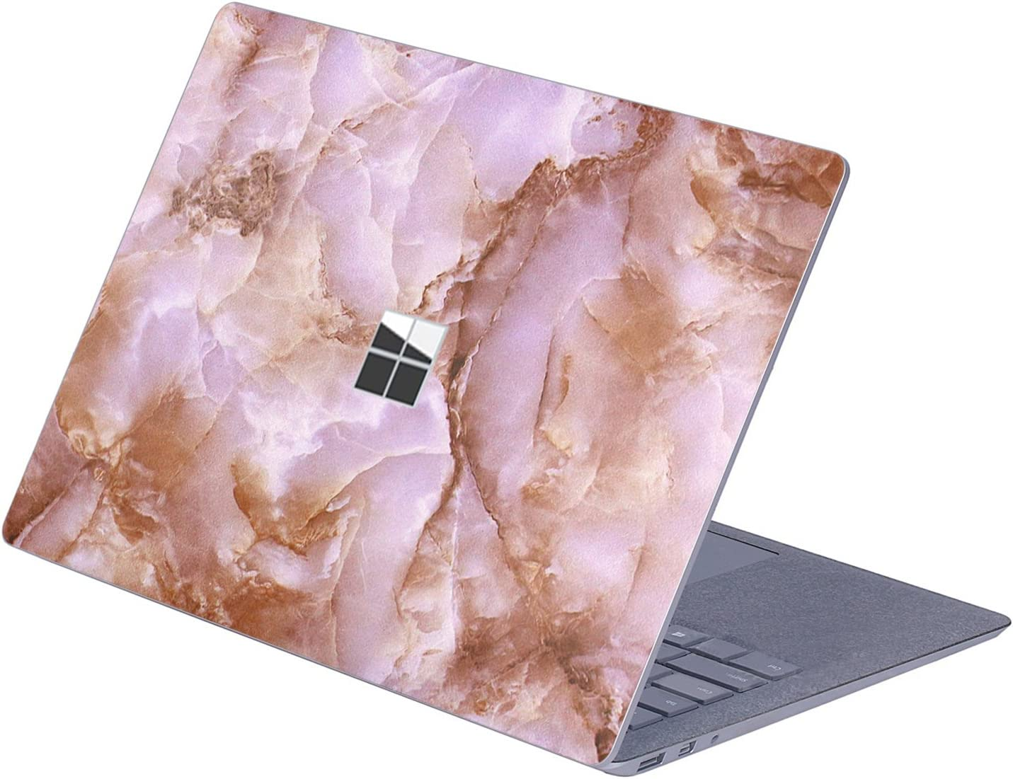 "MasiBloom Top Side Laptop Sticker Decal for 13"" 13.5 inch Microsoft Surface Laptop 3 & 2 & 1 (2019/18/17 Released), Not Compatible with Surface Book (Marble- Brown)"