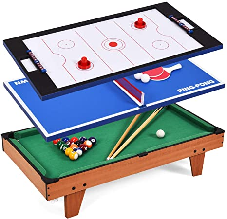 Giantex Mesa de Juego Multi Piscina Billar combinación de Tenis de Mesa de Air Hockey – Futbolín Mesa de Juego - 3 In 1 Multi Table Game, 3 IN 1: Amazon.es: Deportes y aire libre