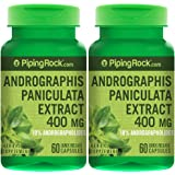 Piping Rock Andrographis Paniculata Extract 400 mg 2 Bottles x 60 Quick Release Capsules 10% Andrographolides Herbal Supplement