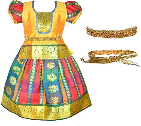 Amirtha Fashion Girls Traditional Lehenga Choli MADHURA CHILD PATTU WITH WAIST BELT (HWGB) Girls' Lehenga Cholis at amazon