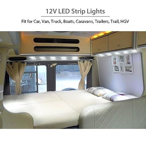 Justech Luces Interiores del Coche Luces de Tira de 12V LED Iluminación del Techo del Domo del Vehículo 30 Módulos LED Blancos 12V para Camper Van Caravana ...