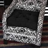 Homescapes Coussin de Chaise ou Réhausseur en 100% cuir velours de 50 x 50 x 10 cm de couleur noir