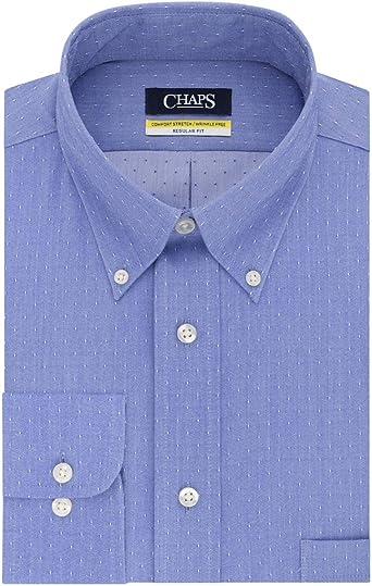 Chaps Dress Shirt Regular Fit Comfort Stretch Collar Blue New Men/'s 16 32//33