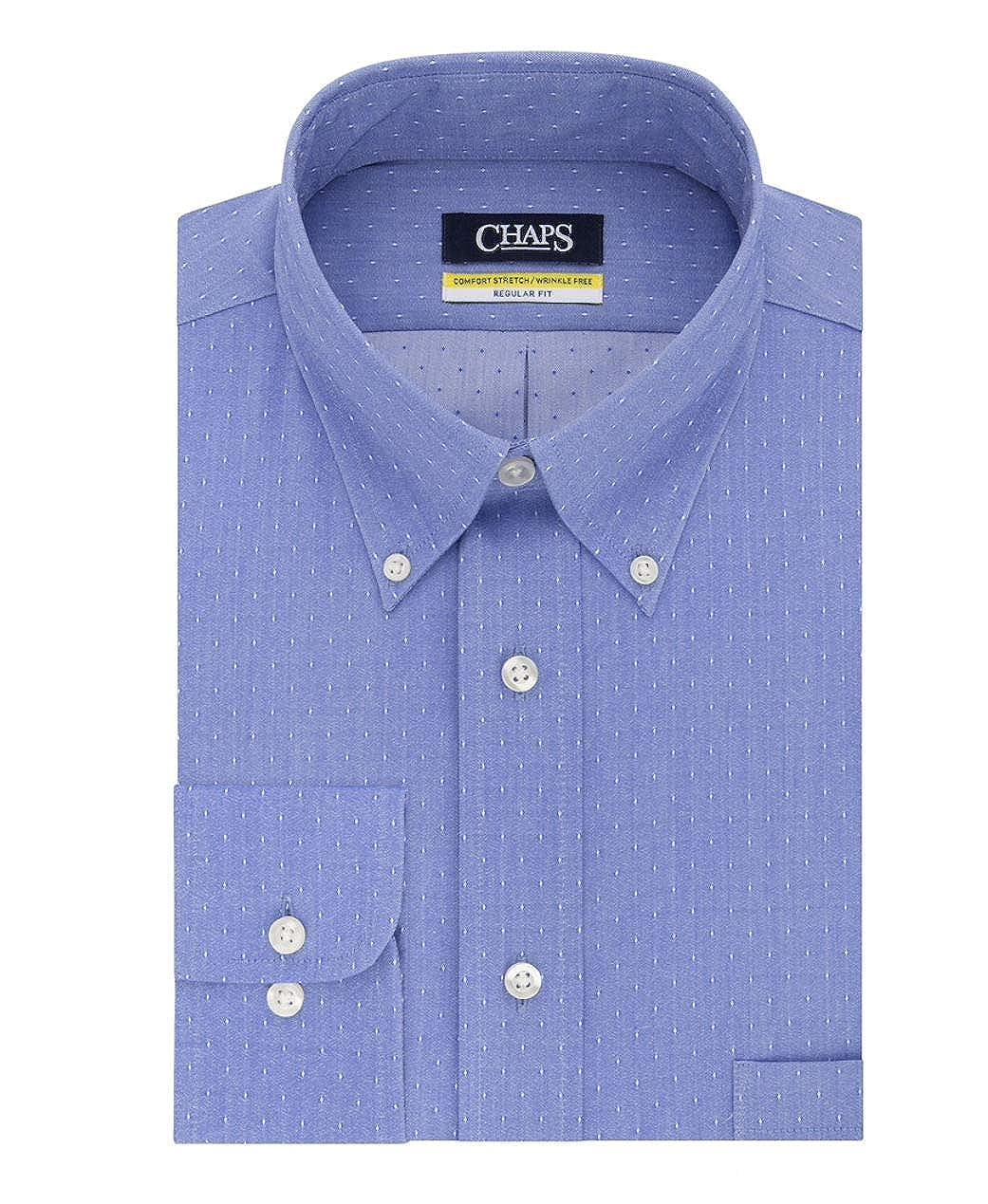 Cobalt, Neck 15.5 Sleeve 32-33 Chaps Mens Elite Performance Regular Fit Comfort Stretch Spread Collar Dress Shirt