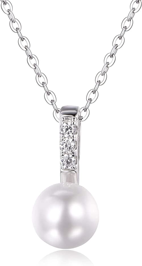 CS-DB Pendants Pearl Shell Design Silver Necklaces