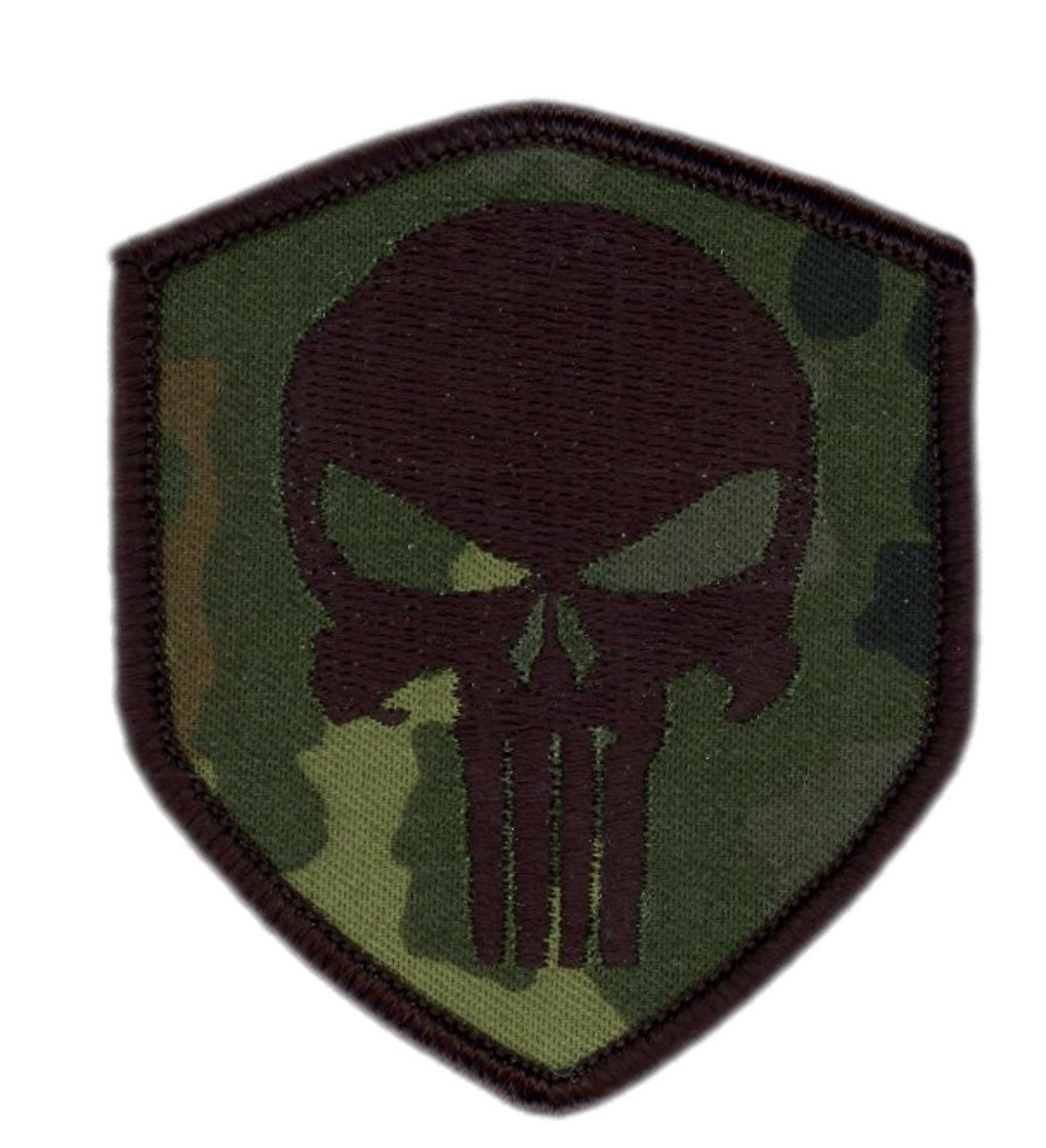 Titan One Europe Hook Fastener Punisher Skull Olive Green Tactical Military Morale Patch