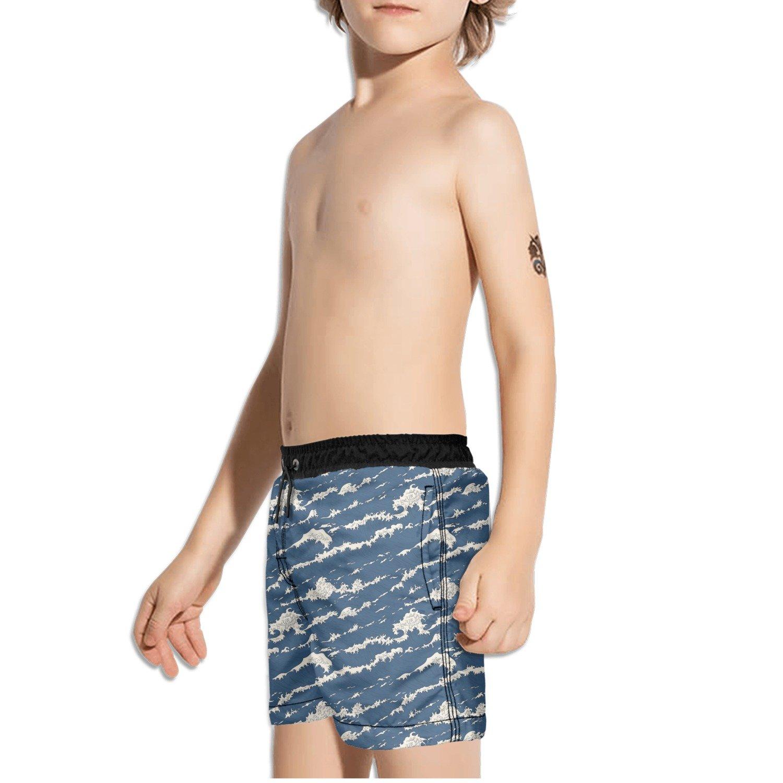 FullBo Ocean Sea Wave Pattern Little Boys Short Swim Trunks Quick Dry Beach Shorts