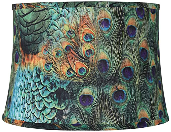Peacock print drum lamp shade 14x16x11 spider household lamps peacock print drum lamp shade 14x16x11 spider aloadofball Choice Image