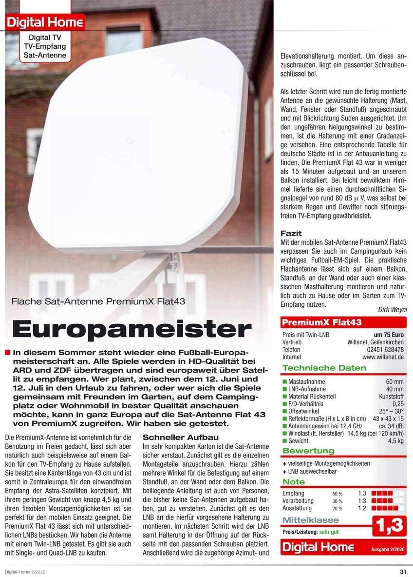 Premiumx Flat43 Sat Flachantenne Mit Quad Lnb Elektronik