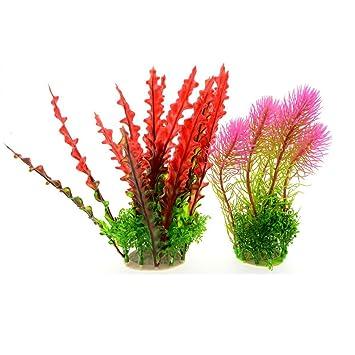 Saim - Plantas artificiales para acuario, 2 unidades, plástico, plantas artificiales, color