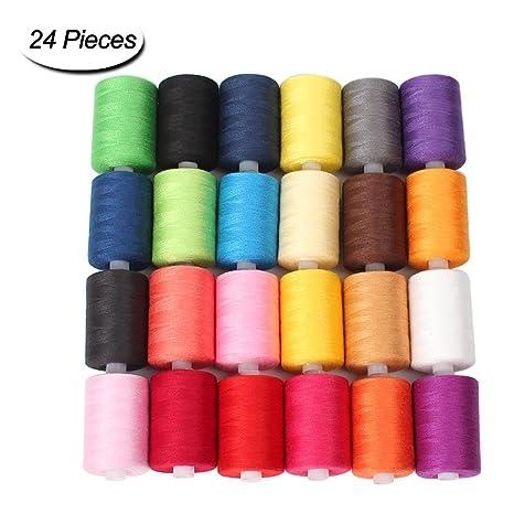 Hilo de coser 24 colores 1000 yardas poliéster cada hilo bobinas para máquina de coser