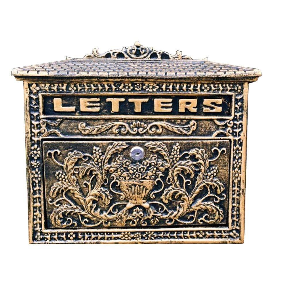 TINGTING 郵便受けア メールボックス ロック付き 壁に取り付けられたロックの別荘のエンボスが付いているレトロの苦しめられた金属の鋳造アルミ (色 : ブロンズ, サイズ さいず : 33*10*33cm) 33*10*33cm ブロンズ B07RJV3HNB