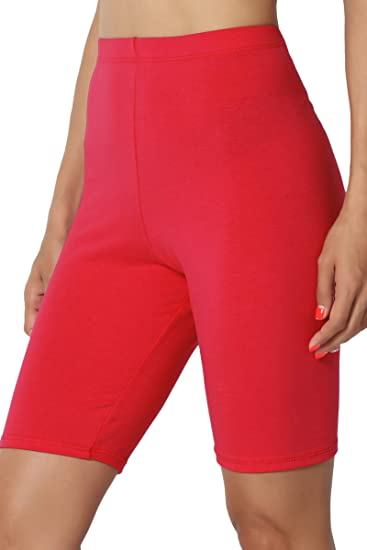dfa082f4fab5f3 TheMogan Women's Mid Thigh High Waist Cotton Jersey Short Leggings Red S