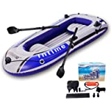 EPROSMIN 4 Person Inflatable Boat Canoe - 【Blue+Gray】 9FT Raft Inflatable Kayak with Air Pump Rope Paddle 【US in Stock…