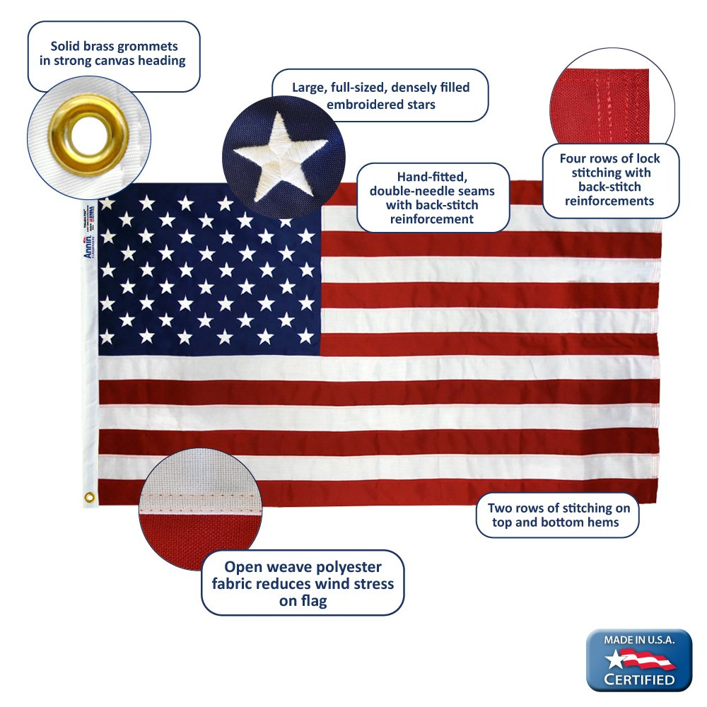 Annin Flagmakers Model 2720 American Flag Tough-Tex the Strongest, Longest Lasting 4x6 ft. 100% Made in USA with Sewn Stripes, Embroidered Stars and Brass Grommets by Annin Flagmakers (Image #6)