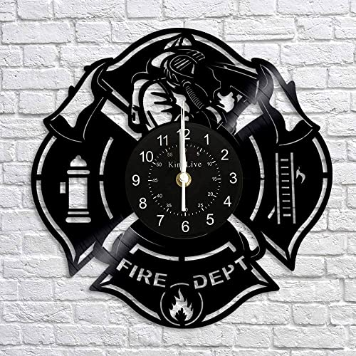 Wall Clock Fire Department Vinyl Record Home Decor Interior Design Gift for Firefighter