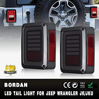 Jeep Wrangler JK LED Tail Lights Smoked for 07-17 Jeep Wrangler Reverse Light Turn Signal Lamp Running Lights: Automotive